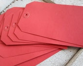 Tags, Large, 1950s, Vintage, Industrial, 10 Pcs, Red, Heavy Paper, 6.75 Inches, New Old Stock, Heavy Red Paper Grommet, Office Supplies