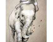 Original illustration, Elephant love, animal art