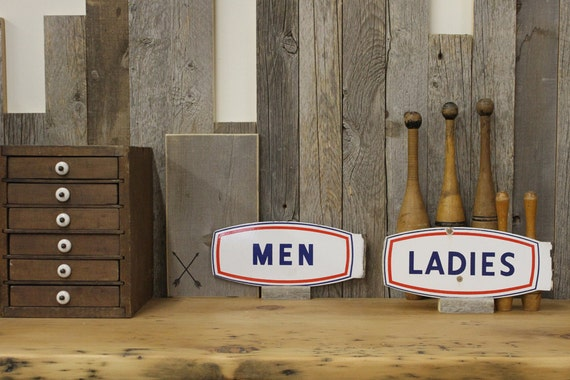 Vintage Porcelain Men & Ladies Rest Room Signs