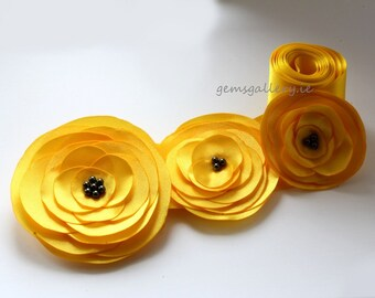 Bridal Sash, Yellow and Black Wedding, Flower Wedding Belt