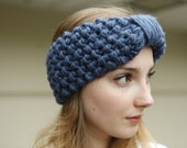 Denim Blue Knitted Headband Bow Look Headband CHOOSE YOUR COLOR