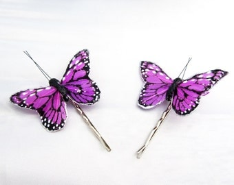 Purple hairpins, Butterfly hairpins, monarch butterfly, hairpins, hairpin set, bridal hairpins, feather hairpins, wedding hairpins, bridal