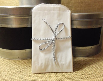 """50 White Kraft 4x6 Flat Paper Merchandise Bags, Small 4"""" x 6"""", Treat, Favors, Weddings, Showers, Gifts"""