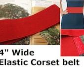 "Wide Elastic Stretch Belt, Cinch Belt, 4"" wide, plus size belt, with hook and eye closure,  Custom Made, red"