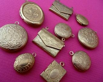 mixed set 10 x brass lockets, pendants,charms, jewelery findings,vintage style lockets