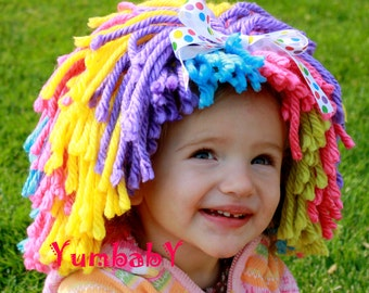 Clown wig Halloween Costume Clown Costume Baby Hat Toddler costume Dress up clothes Yarn Wig