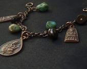 RESERVED Traveller's Talisman-- Thai Ganesh and Miniture Buddha Amulets, Turquoise, Bronze Spinel Gemstone and Brass Yoga Charm Bracelet