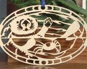 Sea Otter ornament wood hanging desk window tree decoration