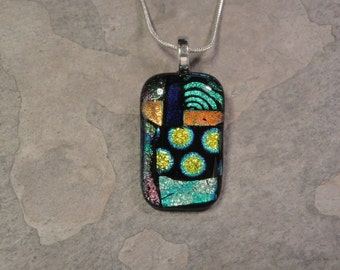 Fused Dichroic Glass Multi-Colored Pendant - BHS02339