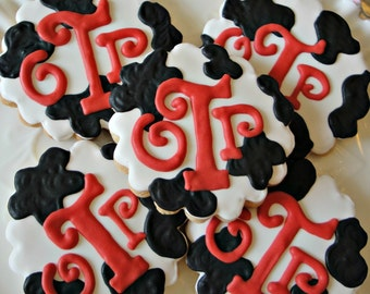 Cow Print Monogram Cookies Western Birthday Cookie Favors Baby Shower Cookie Favors One Dozen