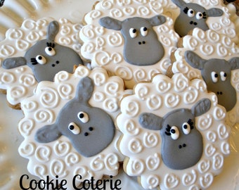 Sheep Little Lamb Decorated Cookies Birthday Party Baby Shower Cookie Favors One Dozen