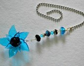 Glass Beaded Blue and Black Flower Ceiling Fan Pull