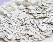 1000 PS I Love You Heart Novel Book Confetti - Vintage Wedding Table Decor - Paper Hearts
