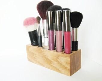 Oak Wood Make up Organiser Pretty Vanity Display