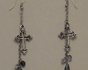 Cross Dangly Earrings