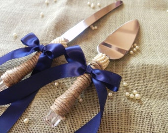 Jute Wrapped Cake Server Set Pearl Wraps and Satin Ribbon - Beautiful and Elegant - Ribbon Your Color Choice