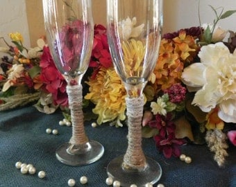 Jute Wrapped Toasting Glasses - Set of 2 with Jute and Lace (or your custom choice)