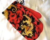 Oven Mitts, Chinese Dragon with Flames, Father's Day, Hot Rod Flames