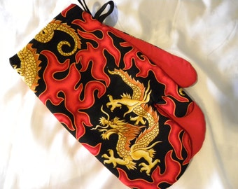 Oven Mitts, Chinese Dragon, Red Fire Flames, Father's Day Gift, Hot Rod Flames, Chinese Oven Mitts, Dragon Oven Mitts