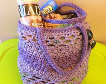 Large Crochet Beach Bag, Extra Large Market Tote in Purple and Lavender Cotton