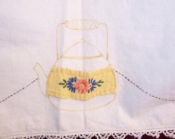 "Vintage 50's Bridge Table cloth, 32"" square, 3 napkins, Teapot embroidery, place to hold napkins"