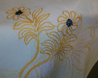 Tablecloth embroidery Blackeyed Susans 36 x 44 vintage 1950