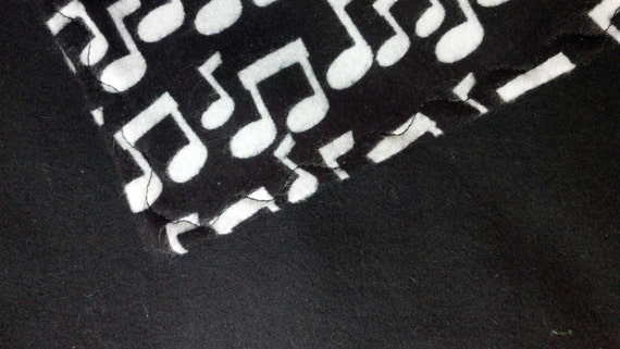 Infant - Baby - Toddler Flannel Blanket Reversible Music Notes Black and White