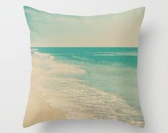 Pillow cover, beach pillow, beach art, ocean pillow,aqua pillow, turquoise pillow, ivory pillow, nautical nursery, vintage pillow,love