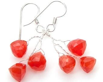 Tangerine Orange Dangle Earrings, Carnelian Earrings, Bridal Jewelry