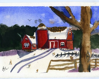 Water color art of barn landscape winter fence shadows pretty