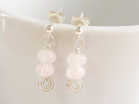 Rose Quartz Earrings in Sterling Silver with Spiral