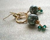 Emerald Mosaic Hoop Earrings- Emerald City, Ready to Ship