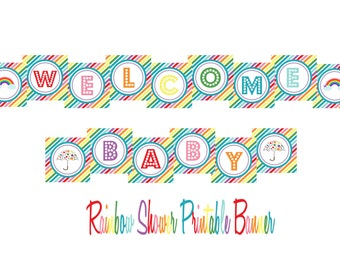 INSTANT DOWNLOAD -- Rainbow Baby Shower Printable Banner