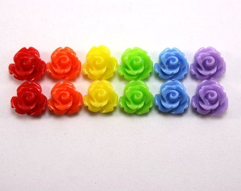 12 pcs Resin Flower Cabochons - 10mm Rose - Glossy Rainbow Mix