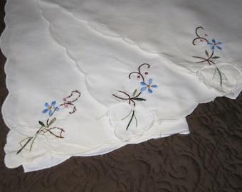 ON SALE...Set of 3 Vintage Embroidered Hankies With Blue Flowers