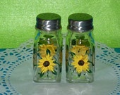 Salt & Pepper Shakers Hand Painted Sunflowers Custom Decorative Sunflower Gift