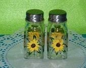 Salt & Pepper Shakers Hand Painted Sunflowers Custom Decorative Sunflower Gift