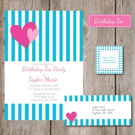 Sweetheart Birthday Tea Party Invitation And By Sweetpopstudio