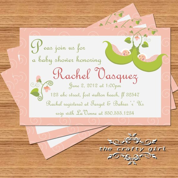 items similar to two peas in a pod twin girls baby shower invitations