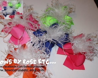 5  Boutique Hair Bows with Ostrich Puff
