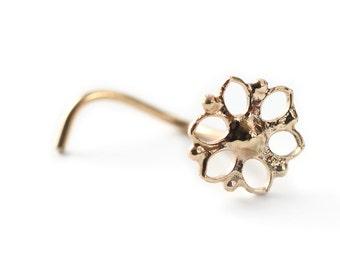 Mandala Nose stud - nose jewelry - 14k gold nose stud  - stud - gipsy style - yellow gold - tragus