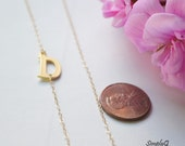 Sideways initial necklace, Dainty letter necklace, initial necklace