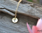 Hammered Tiny round initial necklace, personalized necklace, bridesmaid gifts, 14k gold filled, 18k gold plated over brass