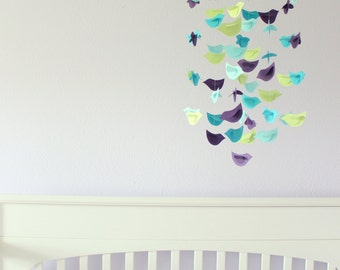 Bird Nursery Mobile- Aqua, Blue, Green, & Purple Nursery Decor
