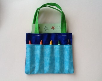 Blue and Green Children's Crayon Bag and Customized Paper