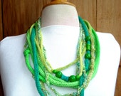 NECKLACES - Hand knit -Fresh Green -  Jewelry