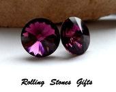 12mm Amethyst Swarovski Rivoli Rhinestone Stud Earrings-Amethyst Crystal Studs-February Birthstone Studs-Large Birthstone Stud Earrings