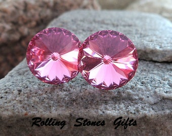 12mm Rose Swarovski Rivoli Rhinestone Stud Earrings-Large Rose Crystal Studs-October Birthstone Studs-Large Pink Rhinestone Stud Earrings