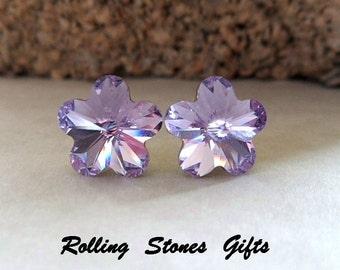 10mm Violet Swarovski Flower Rhinestone Stud Earrings-Violet Flower Crystal Studs-Purple Flower Rhinestone Earrings-rostone