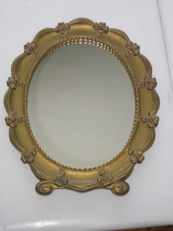 Vintage Oval Scrolly Floral Syroco Mirror With Ribbons And